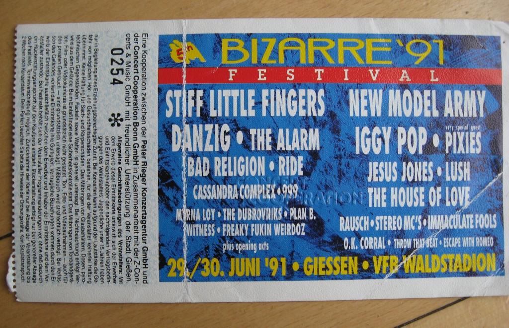 mein ticket bizarre festival giessen 1991